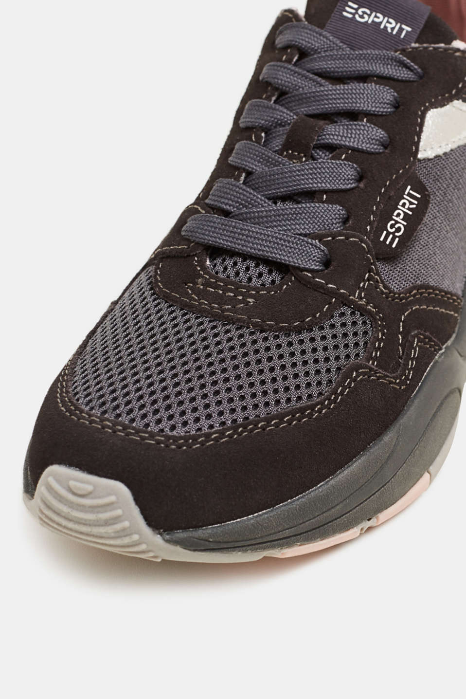 Mixed material trainers with leather, GUNMETAL, detail image number 6
