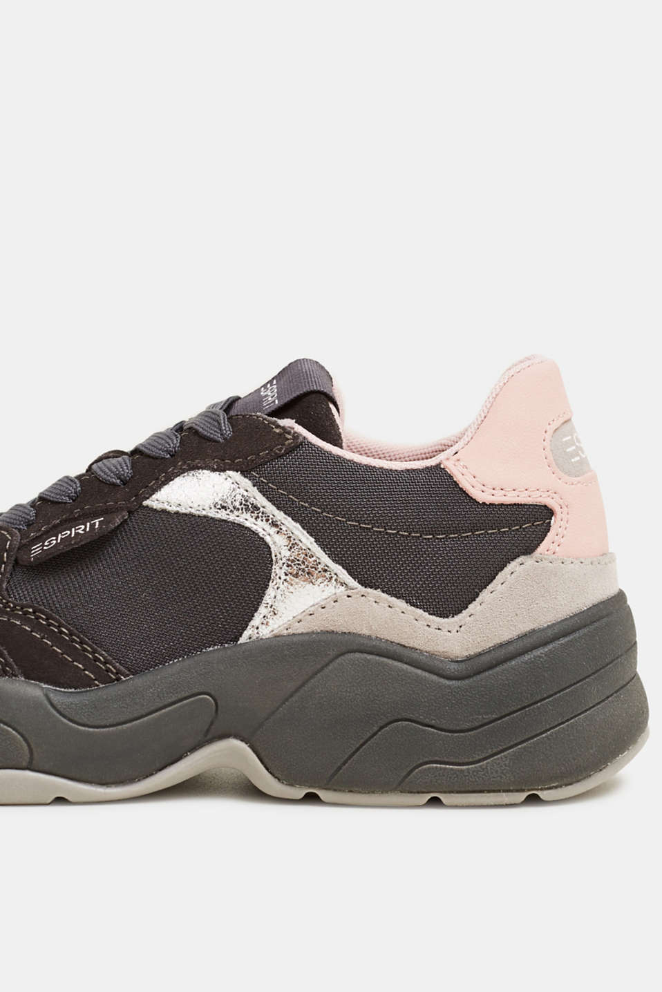 Mixed material trainers with leather, GUNMETAL, detail image number 4