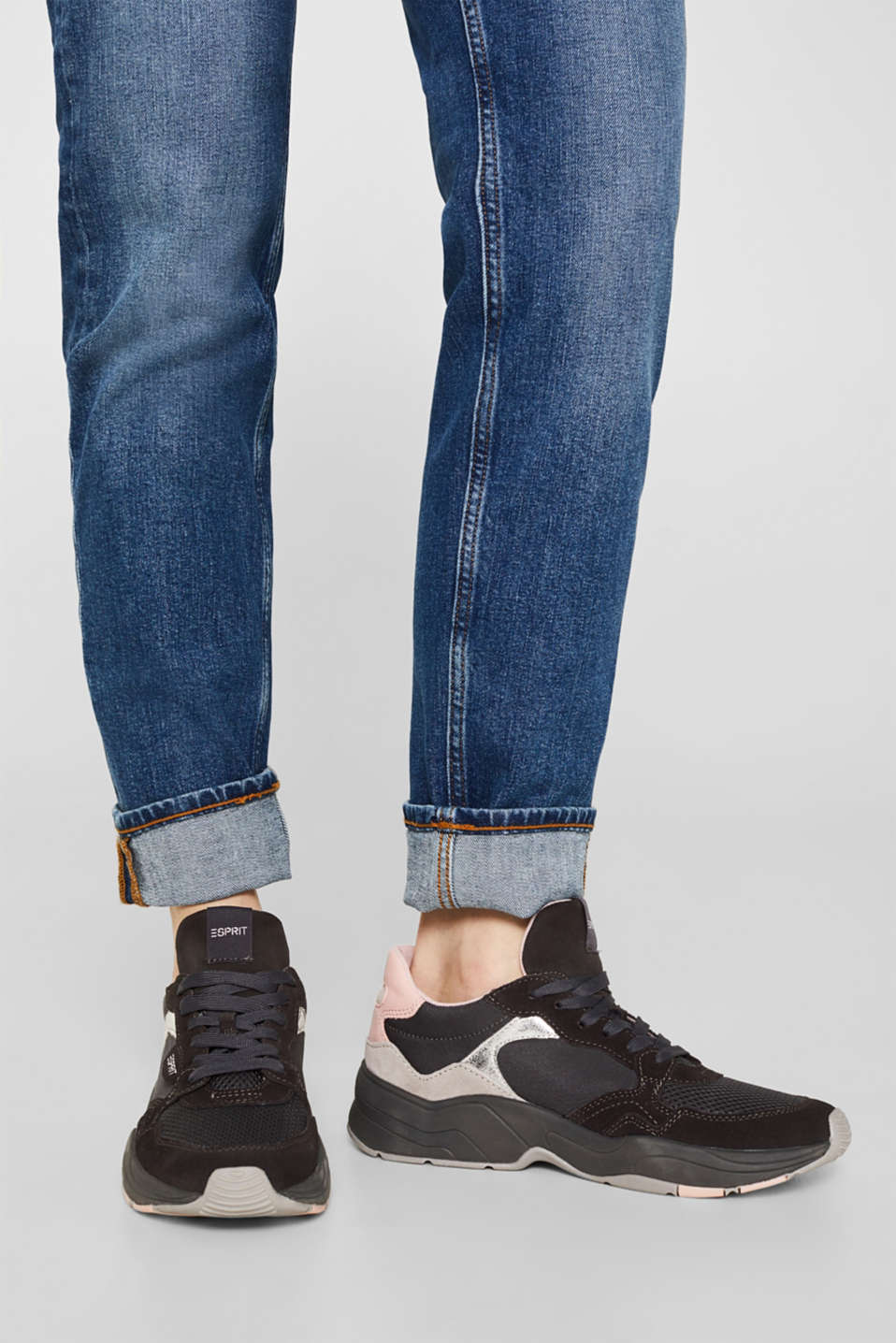 Mixed material trainers with leather, GUNMETAL, detail image number 3