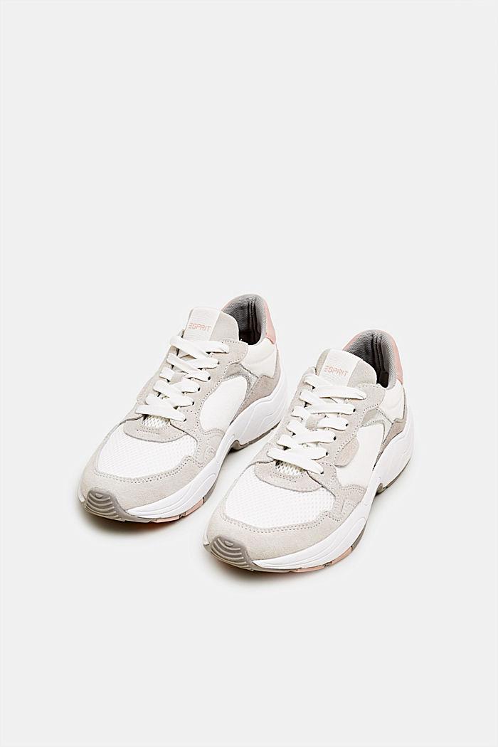 Sneakers van een materiaalmix met leer, WHITE, detail image number 1