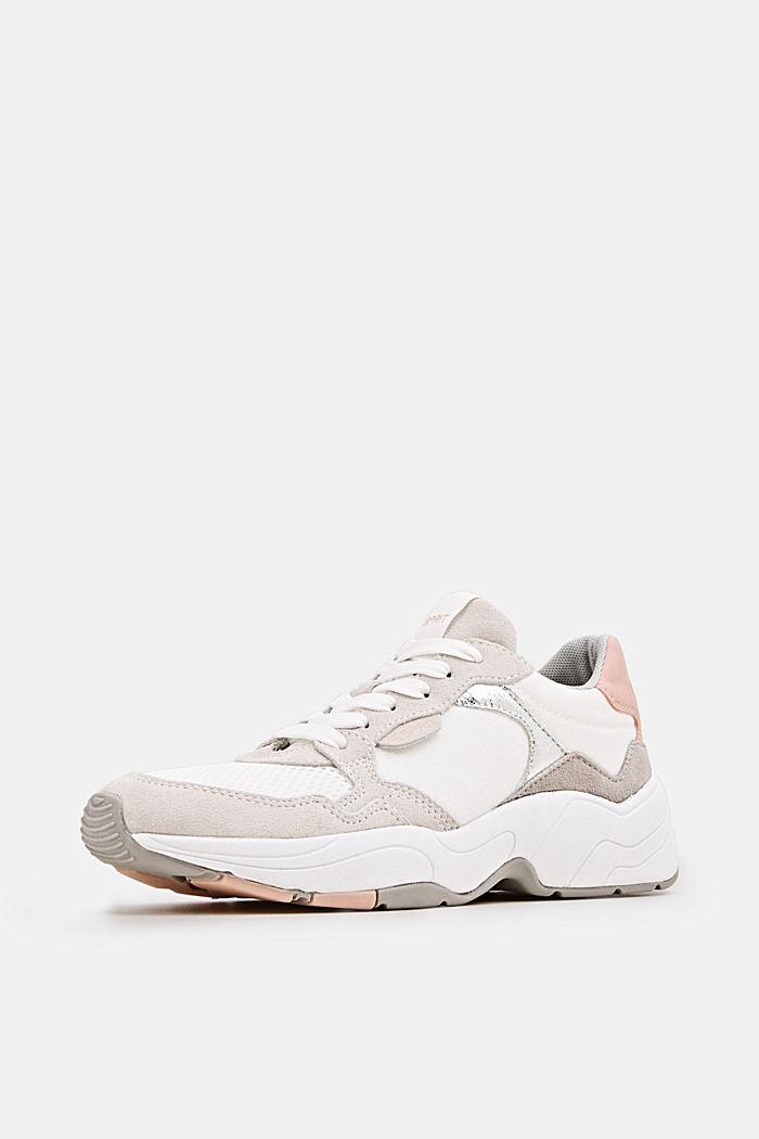 Sneakers van een materiaalmix met leer, WHITE, detail image number 2
