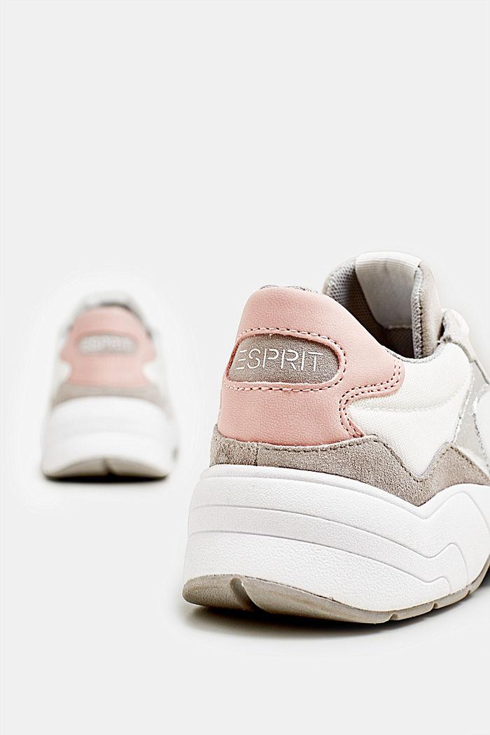 Sneakers van een materiaalmix met leer, WHITE, detail image number 4