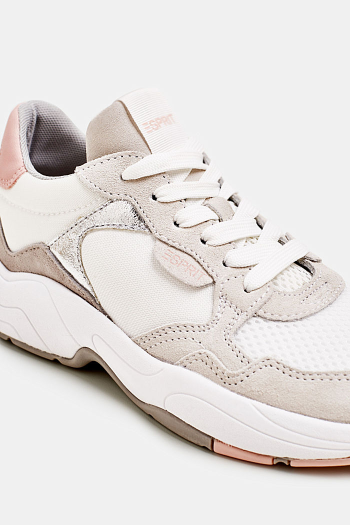Sneakers van een materiaalmix met leer, WHITE, detail image number 3