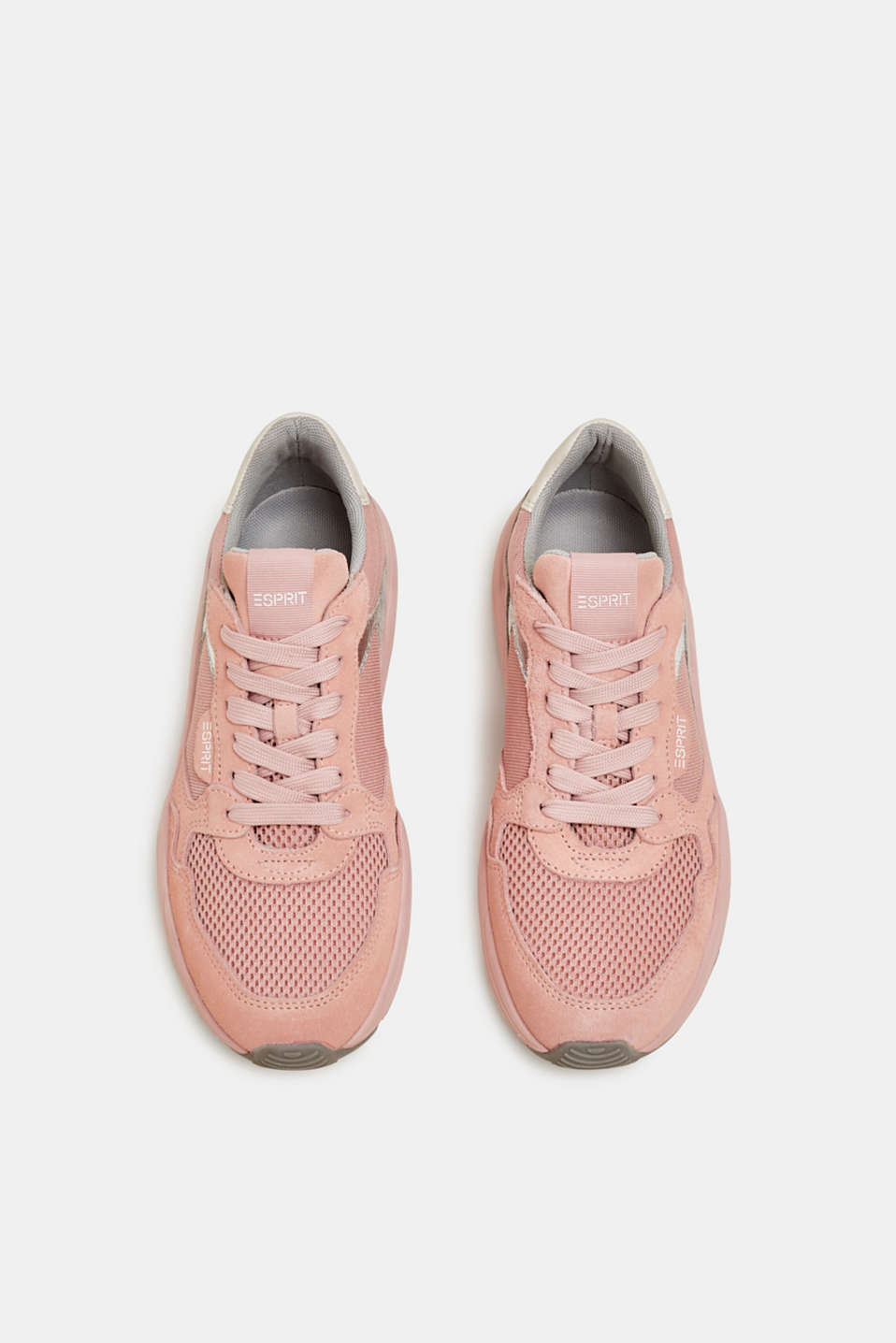 Mixed material trainers with leather, NUDE, detail image number 1
