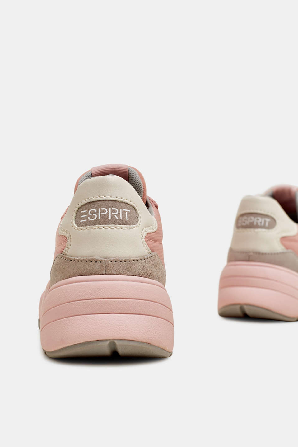 Mixed material trainers with leather, NUDE, detail image number 5