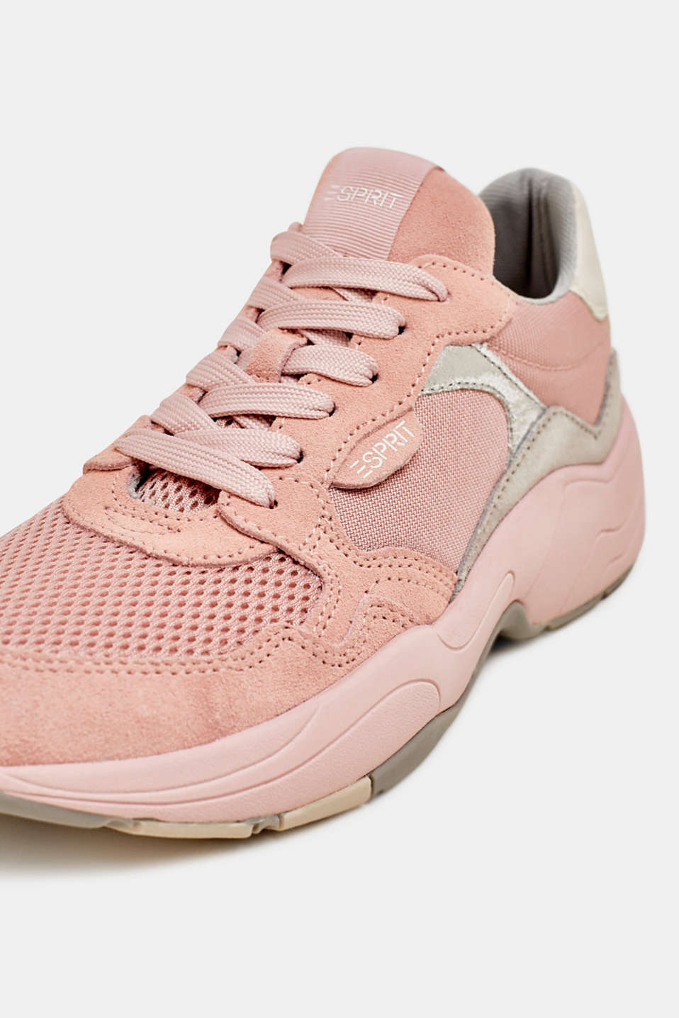 Mixed material trainers with leather, NUDE, detail image number 4