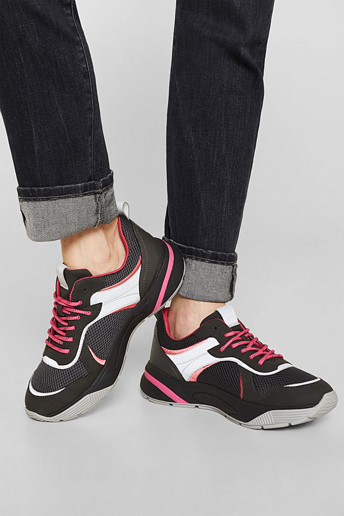 Trendy material mix trainers