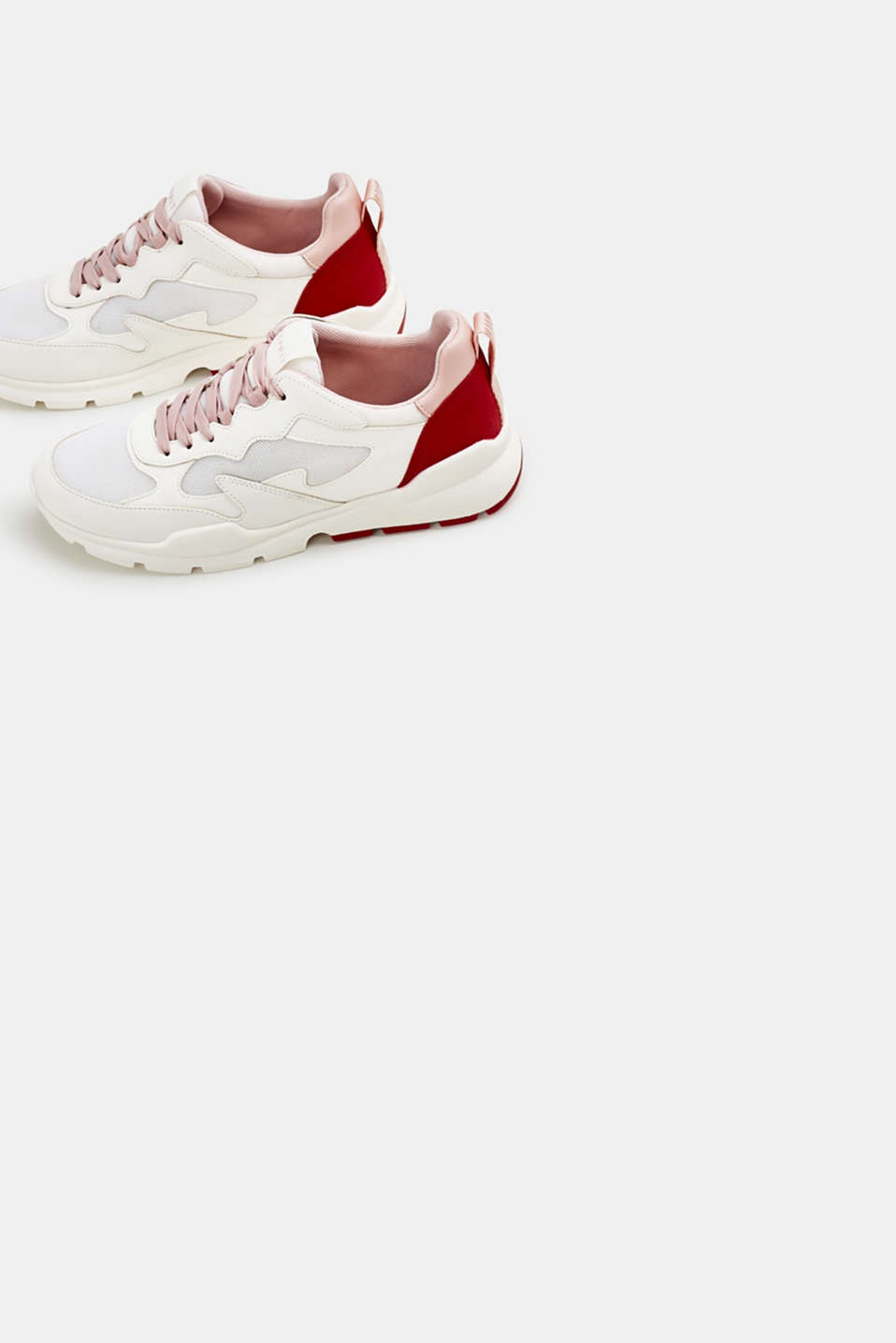 Trainers in a material mix, WHITE, detail image number 1