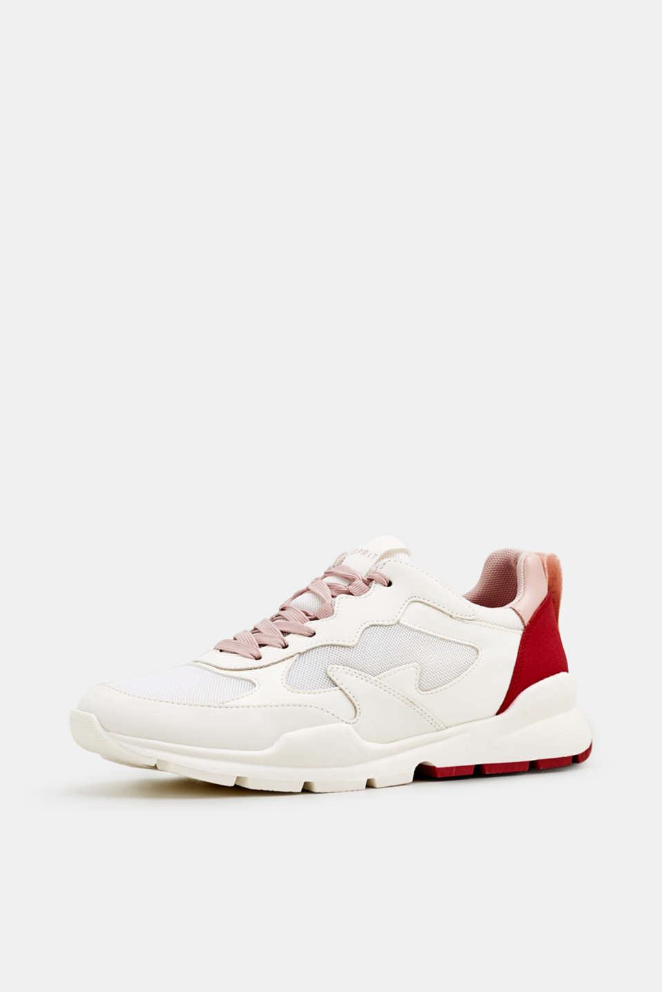 Trainers in a material mix, WHITE, detail image number 2