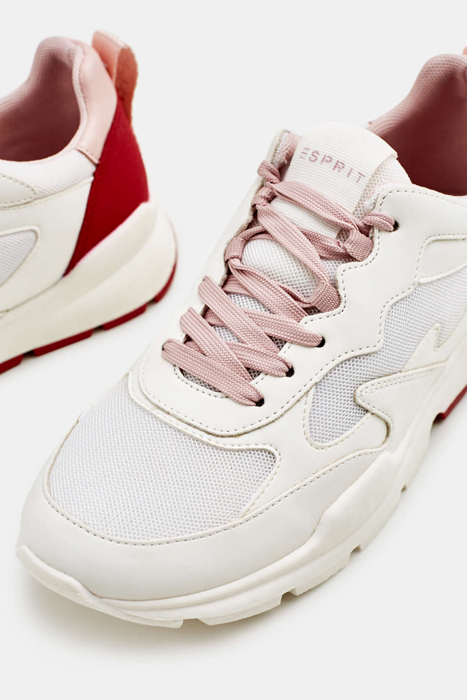 Trainers in a material mix, WHITE, detail image number 4
