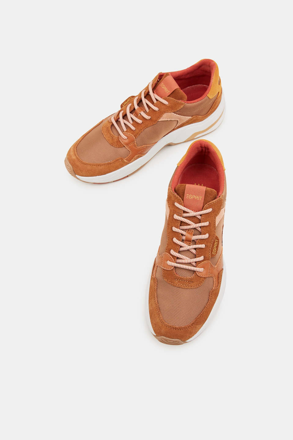 Material mix trainers with suede, RUST BROWN 4, detail image number 1
