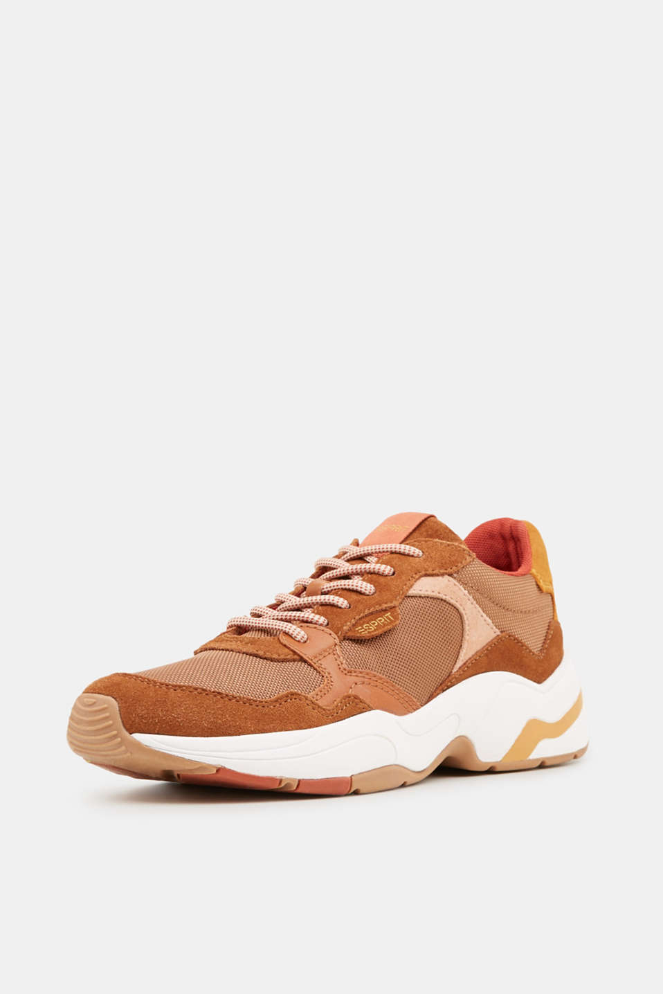 Material mix trainers with suede, RUST BROWN 4, detail image number 2