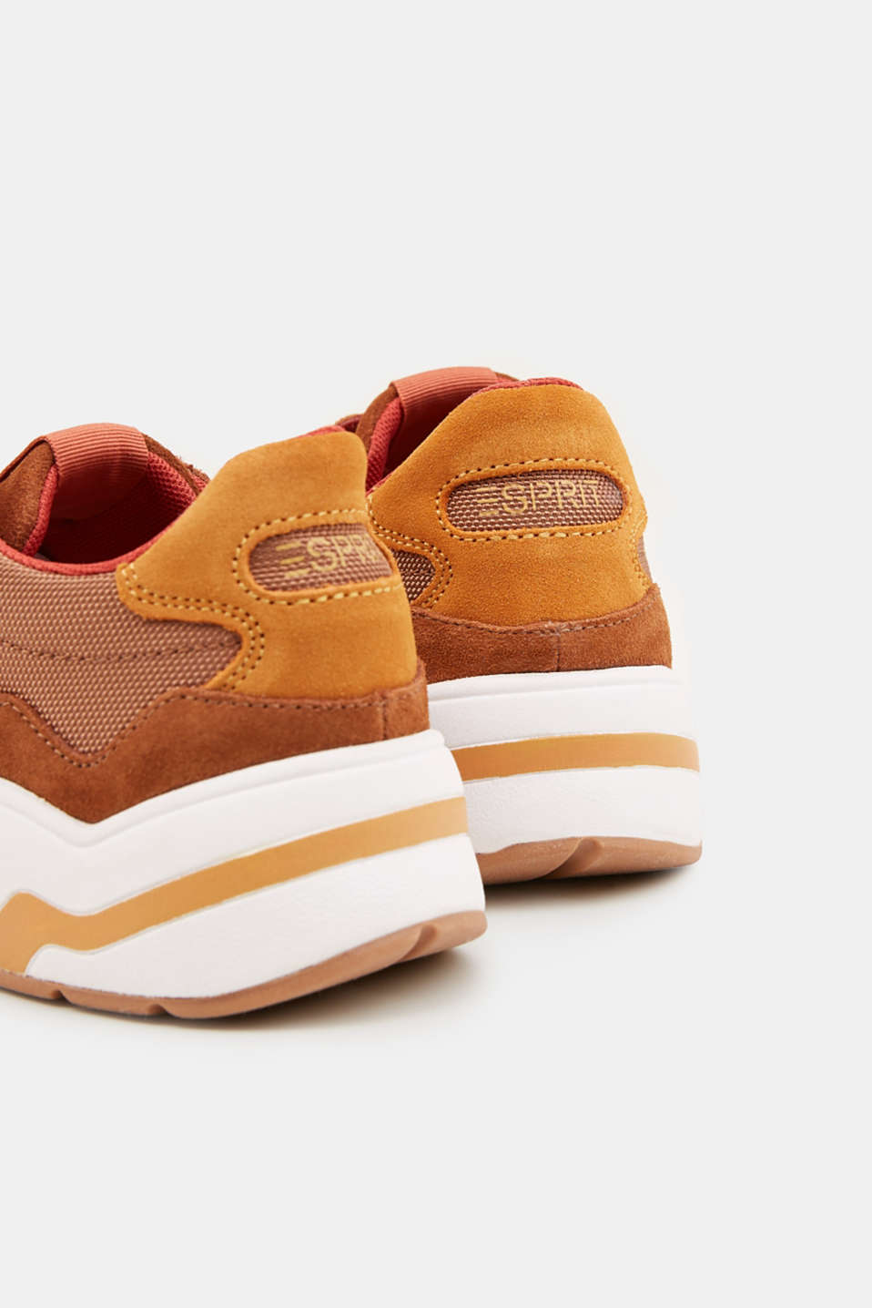 Material mix trainers with suede, RUST BROWN 4, detail image number 5