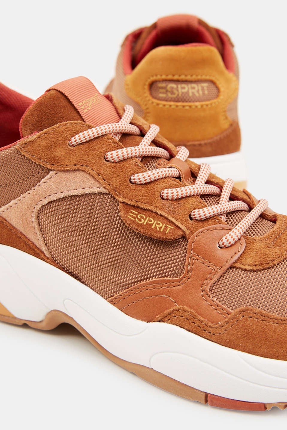 Material mix trainers with suede, RUST BROWN 4, detail image number 4