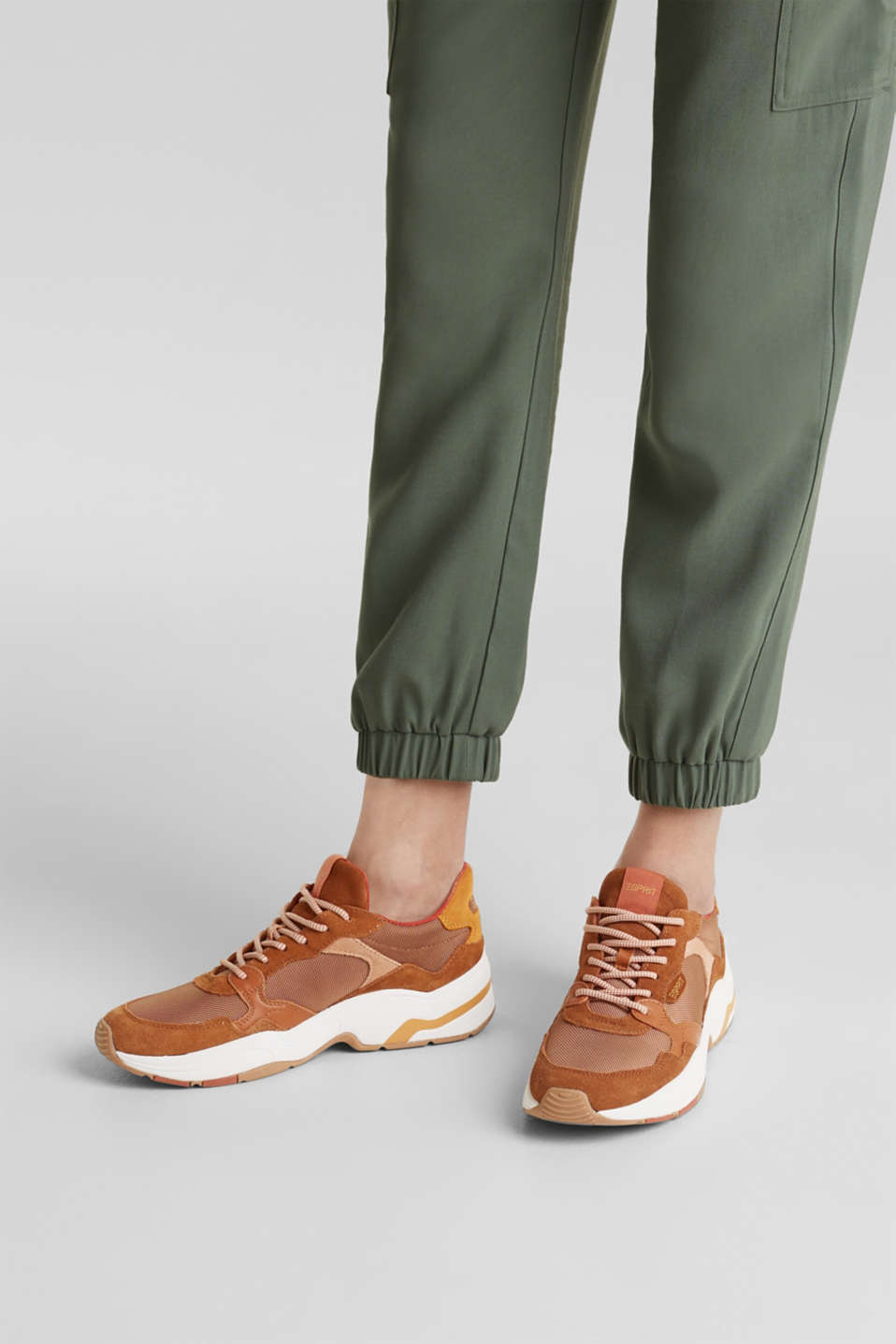 Material mix trainers with suede, RUST BROWN 4, detail image number 3