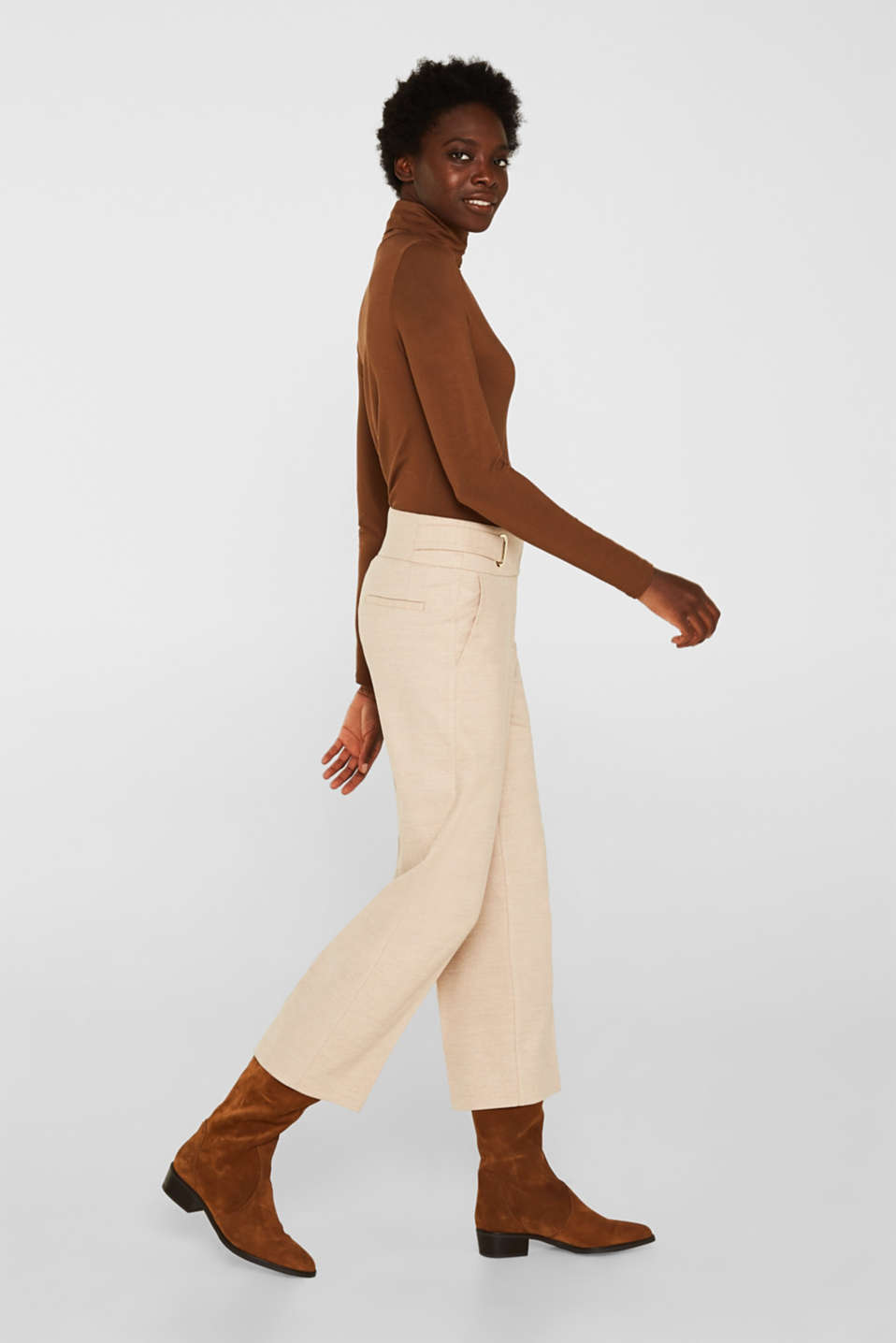 Flannel culottes with a wide waistband, LIGHT TAUPE, detail image number 5