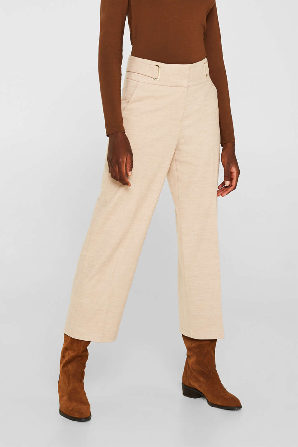 Flannel culottes with a wide waistband, LIGHT TAUPE, detail image number 7