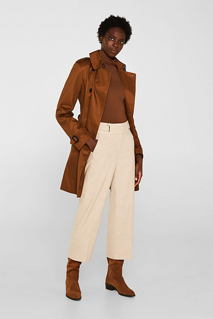 Flannel culottes with a wide waistband, LIGHT TAUPE, detail image number 1