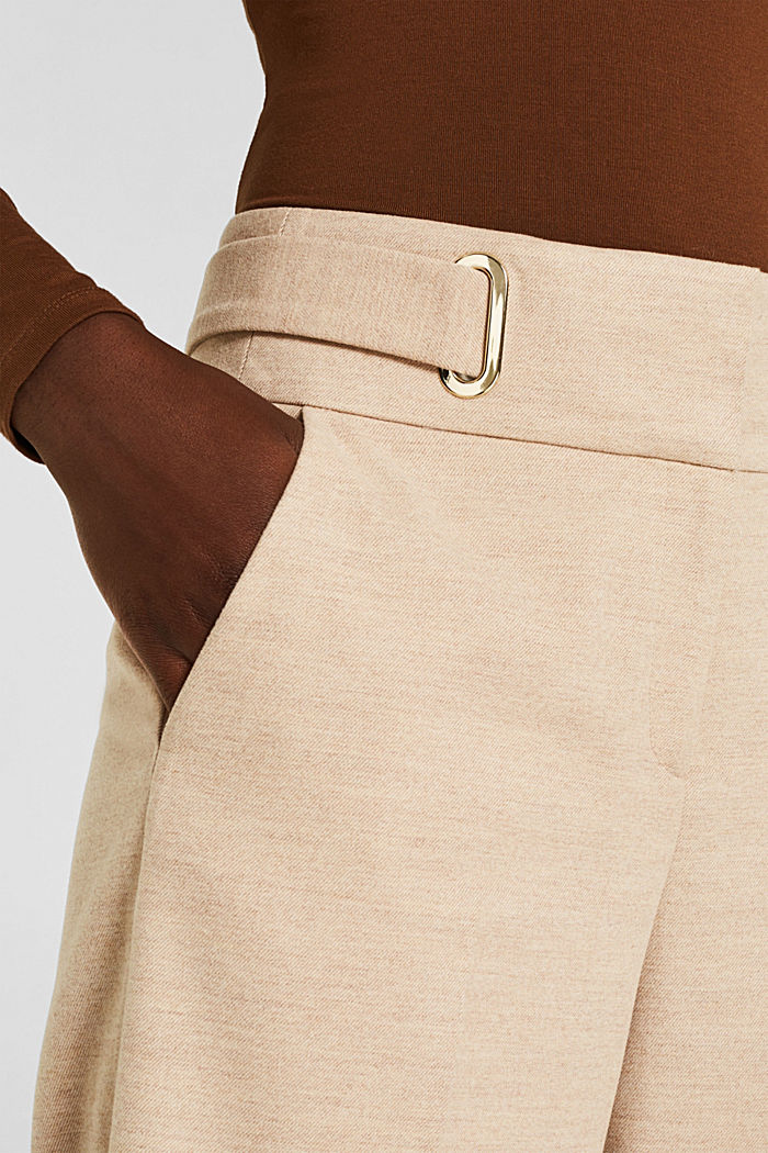 Flannel culottes with a wide waistband, LIGHT TAUPE, detail image number 2