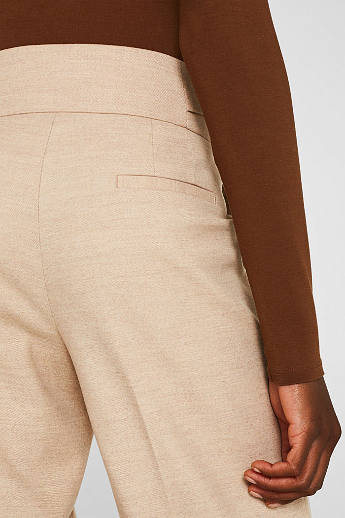 Flannel culottes with a wide waistband, LIGHT TAUPE, detail image number 6