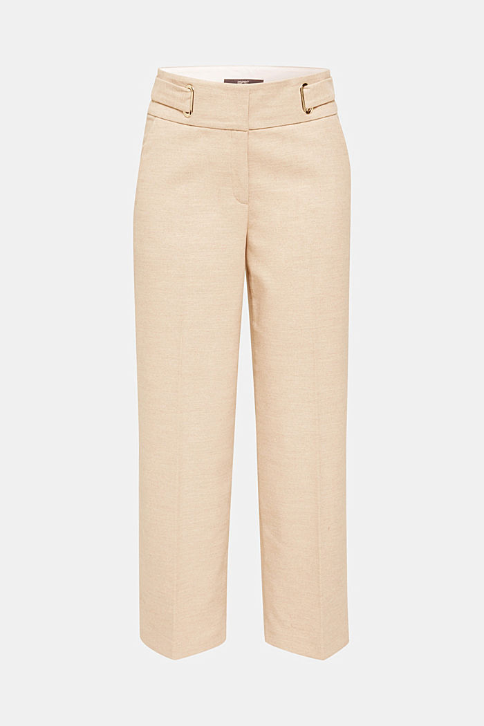 Flannel culottes with a wide waistband, LIGHT TAUPE, detail image number 8