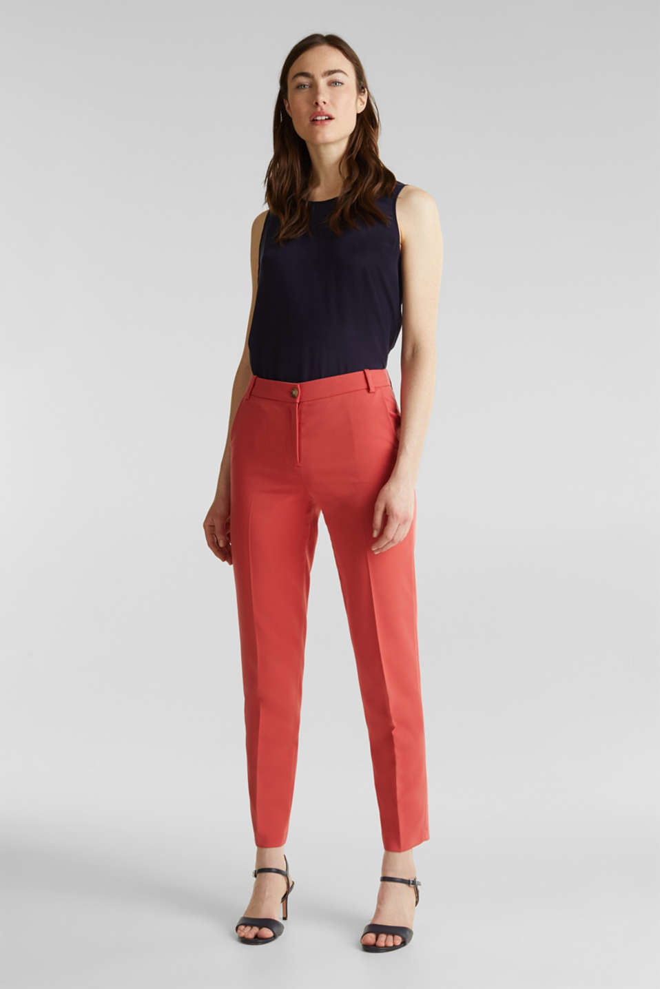 SPRING TWILL Mix + Match stretch trousers, TERRACOTTA, detail image number 0