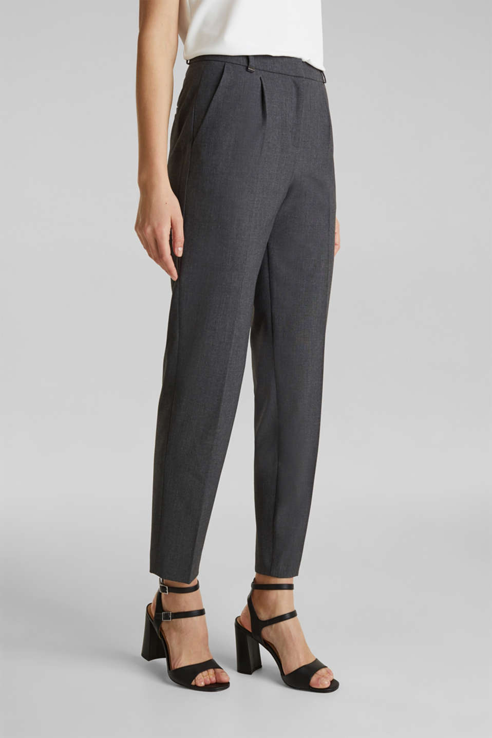 Esprit - PURE BUSINESS Stretch-Hose mit Bundfalten