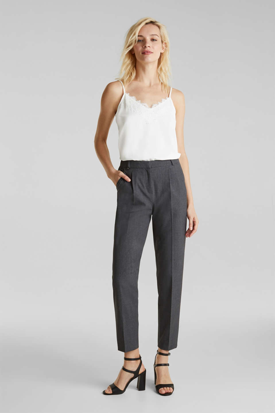 PURE BUSINESS stretch trousers with waist pleats, MEDIUM GREY 5, detail image number 1