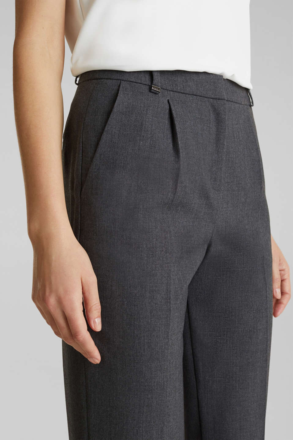 PURE BUSINESS stretch trousers with waist pleats, MEDIUM GREY 5, detail image number 2