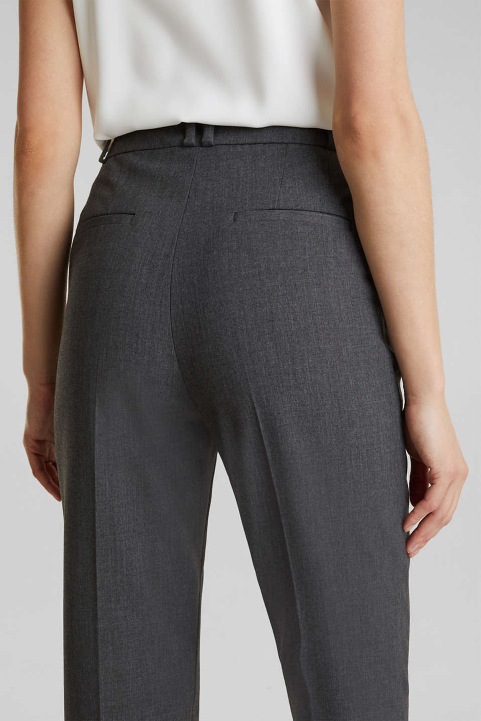 PURE BUSINESS stretch trousers with waist pleats, MEDIUM GREY 5, detail image number 5