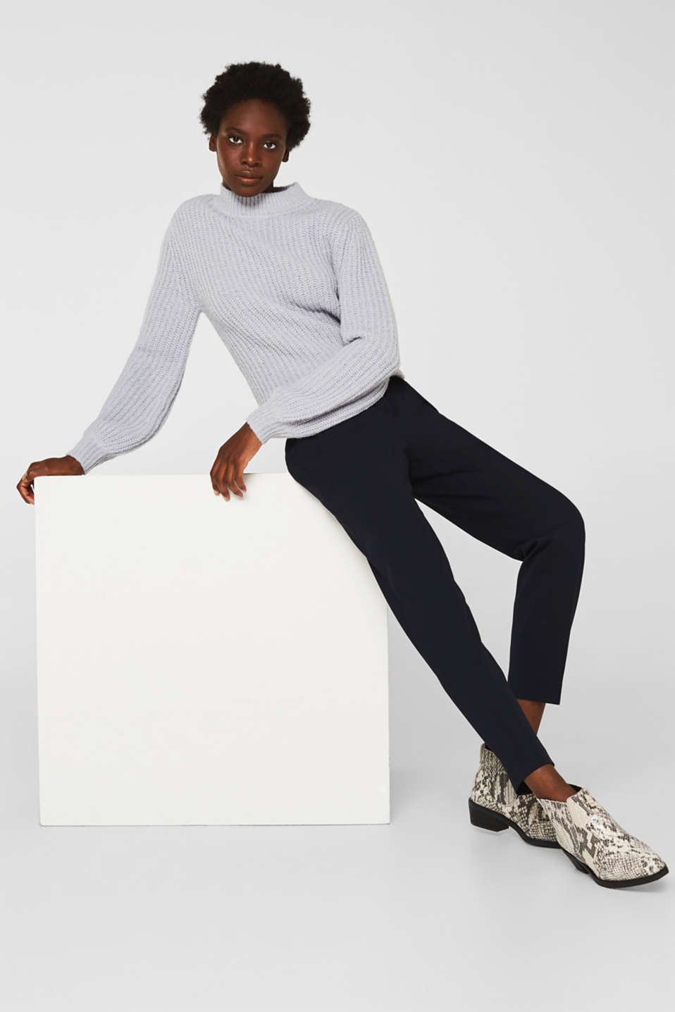 Esprit - Pantalon stretch à pinces