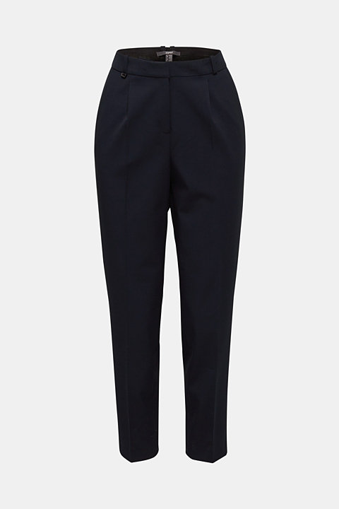 Stretch trousers with waist pleats