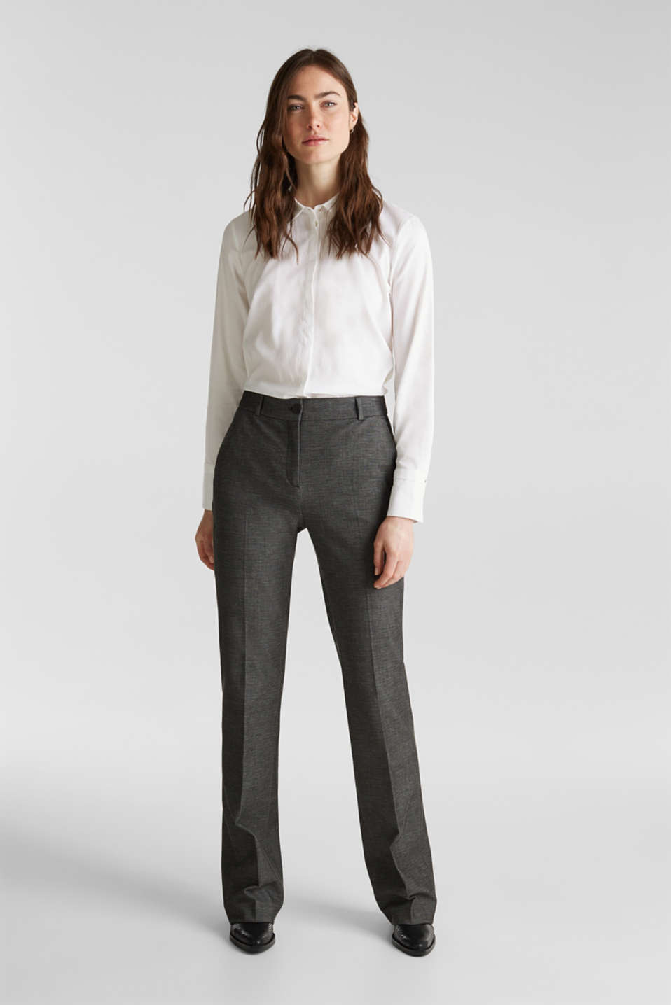 SHINY TEXTURE mix + match stretch trousers, DARK GREY 5, detail image number 0