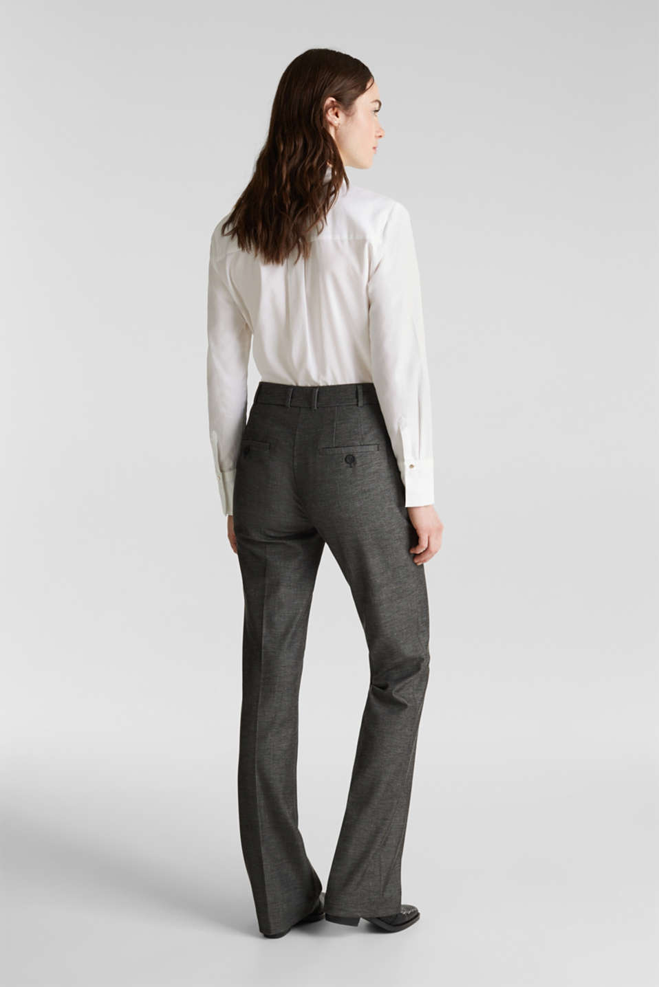 SHINY TEXTURE mix + match stretch trousers, DARK GREY 5, detail image number 3