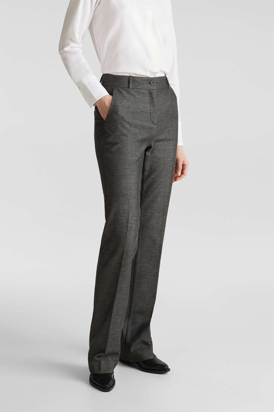 SHINY TEXTURE mix + match stretch trousers, DARK GREY 5, detail image number 6