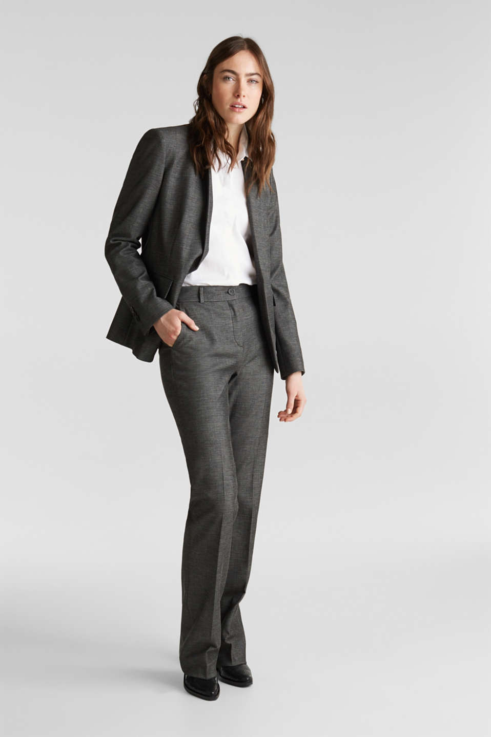 SHINY TEXTURE mix + match stretch trousers, DARK GREY 5, detail