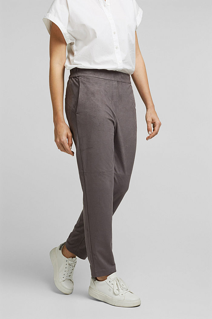 Jogger-Pants in Veloursleder-Optik, TAUPE, detail image number 0