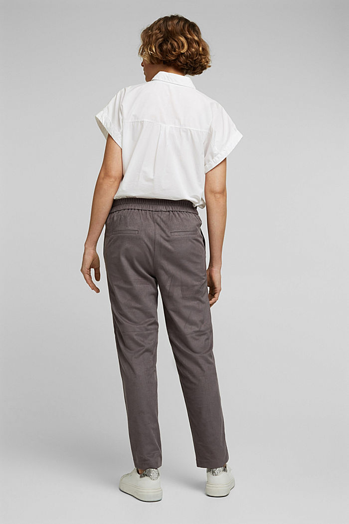 Jogger-Pants in Veloursleder-Optik, TAUPE, detail image number 3