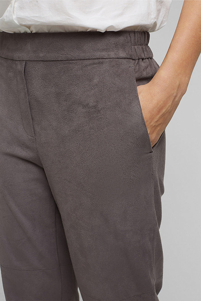 Jogger-Pants in Veloursleder-Optik, TAUPE, detail image number 2