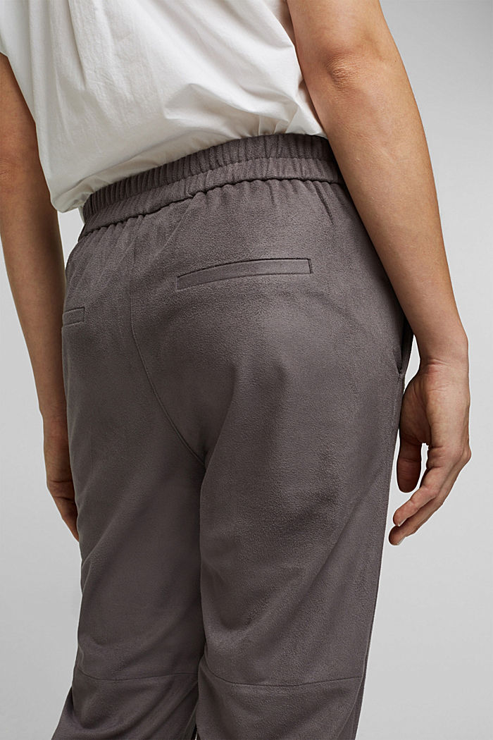 Jogger-Pants in Veloursleder-Optik, TAUPE, detail image number 5