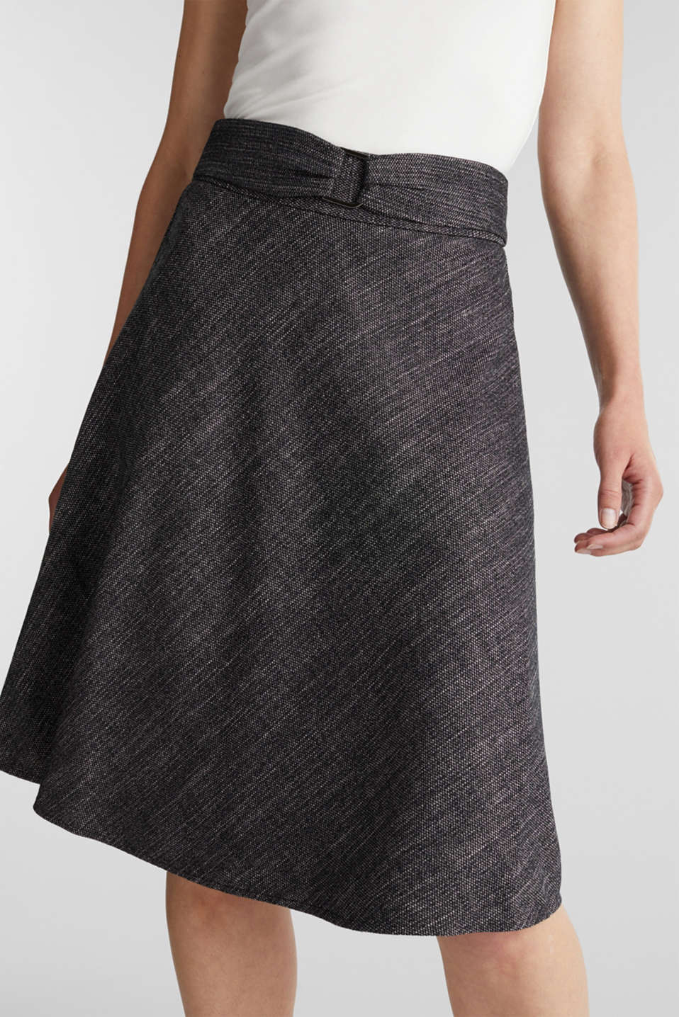 A-line skirt in a salt and pepper look, BLACK 2, detail image number 0