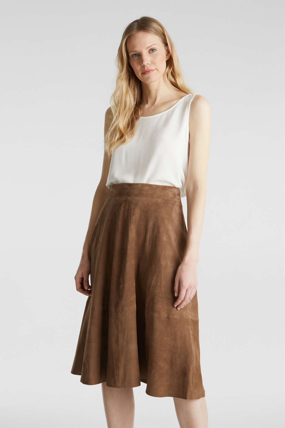 Esprit - Flared midi skirt made of leather