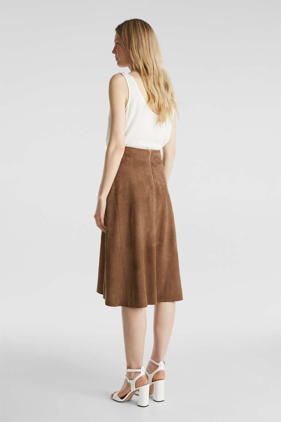 Skirts leather, TAUPE, detail image number 3