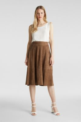 Flared midi skirt made of leather, TAUPE, detail