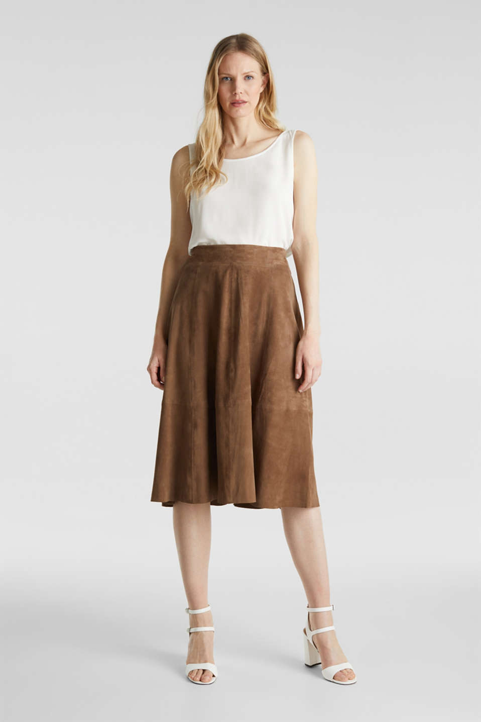 Skirts leather, TAUPE, detail image number 1