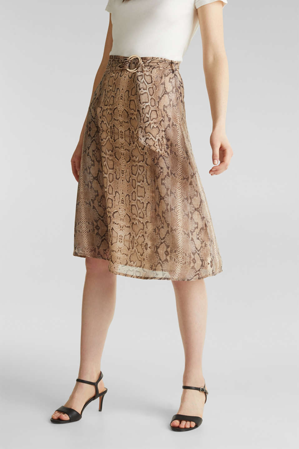 Esprit - Chiffon skirt with snake print