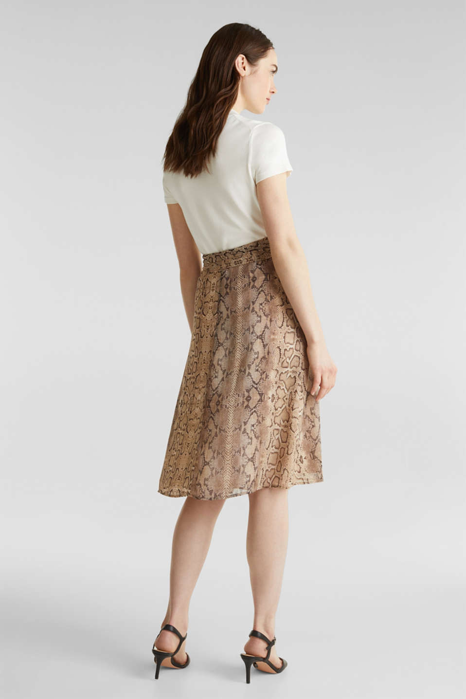 Chiffon skirt with snake print, LIGHT TAUPE 4, detail image number 3