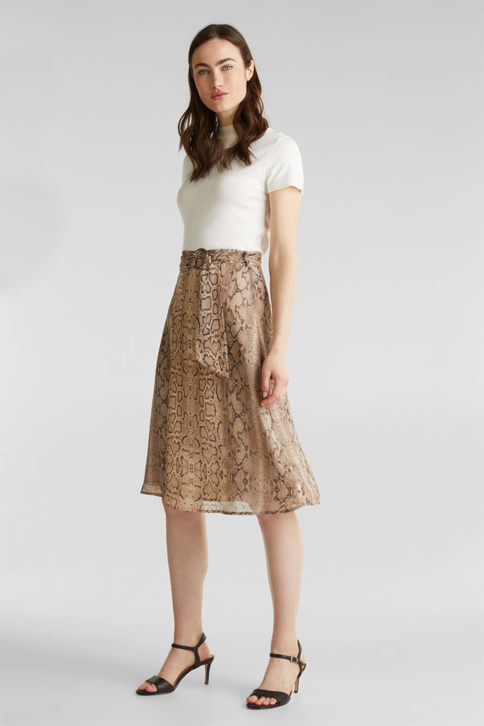 Chiffon skirt with snake print, LIGHT TAUPE 4, detail image number 1