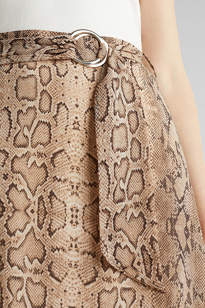 Chiffon-Rock mit Snake-Print, LIGHT TAUPE, detail image number 2