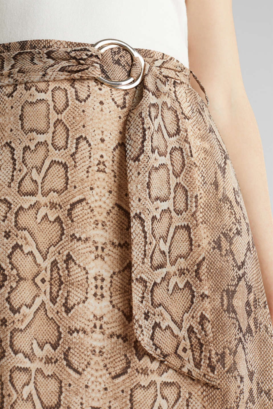Chiffon skirt with snake print, LIGHT TAUPE 4, detail image number 2